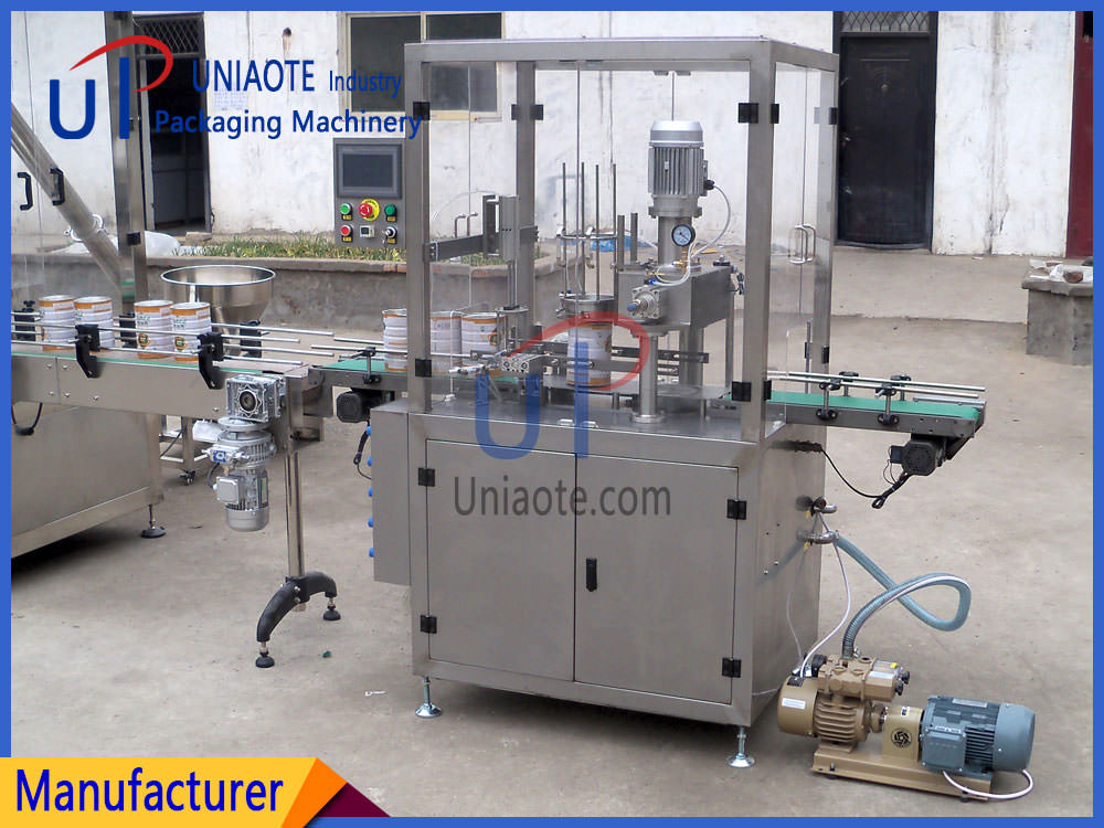 The Detials Pictures of Fully Automatic Tin Can Vacuum Infill Nitrogen Seamer Seaming Machine